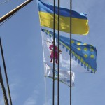 Flag of our club - proudly fluttering on the mast!
